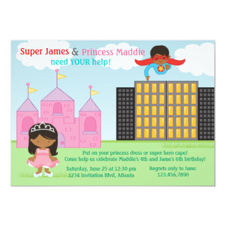 Super Hero and Princess Twins Joint Birthday Party 5x7 Paper Invitation Card
