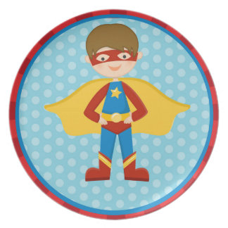 SUPER HERO boy PERSONALIZED melamine plate
