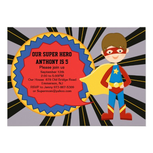 Super Hero Boys Birthday Invitation