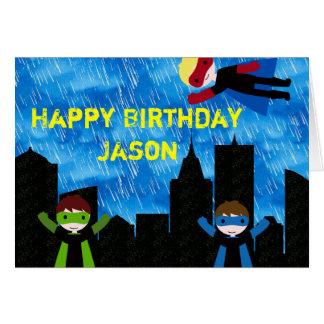 Super Hero Boys Bithday Party Cards