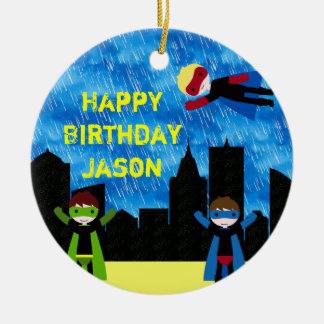 Super Hero Boys Bithday Party Christmas Ornament