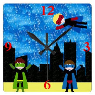 Super Hero Boys Bithday Party Square Wall Clock