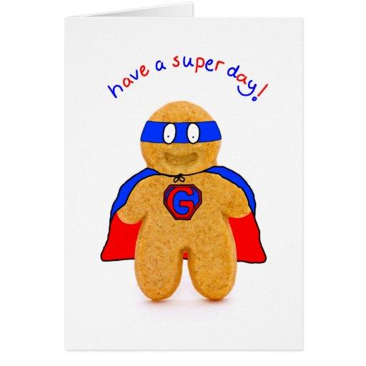 super hero gingerbread man character birthday card