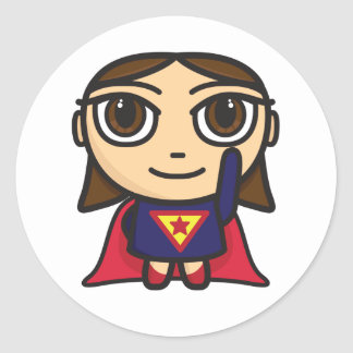 Super Hero Girl Character Classic Round Sticker