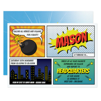 Super Heroes and Villains Kid's Birthday Party Card