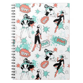 super heroines spiral notebook mint and coral