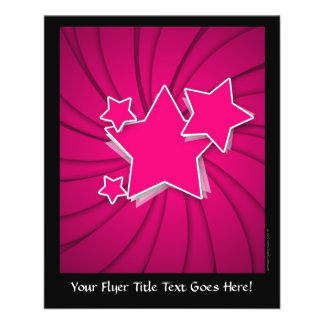 Super Hot Pink Stars and Swirl Background 11.5 Cm X 14 Cm Flyer