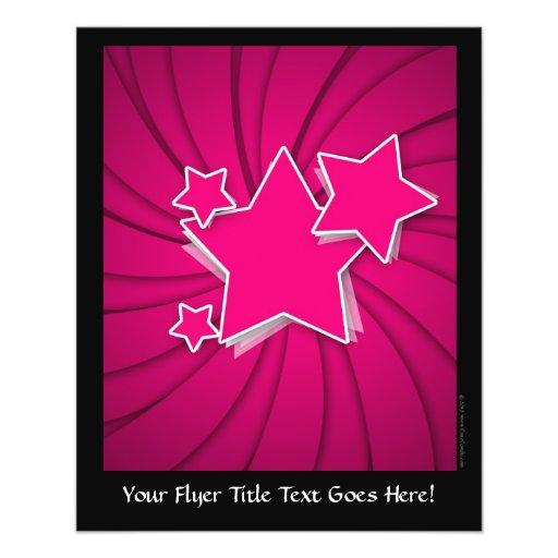 Super Hot Pink Stars and Swirl Background Custom Flyer