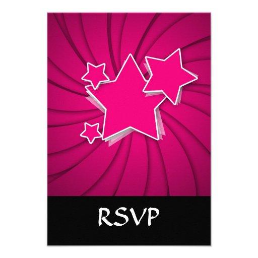 Super Hot Pink Stars and Swirl Background Invite