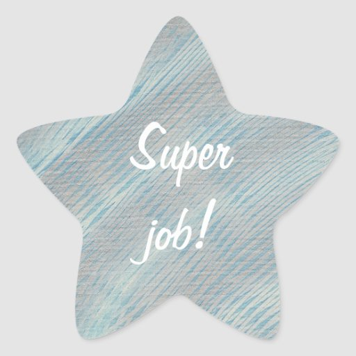 Super Job Blue and Silver White Star Stickers