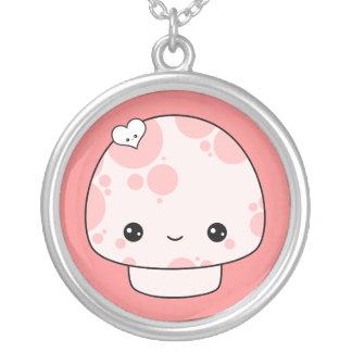 Super Kawaii Pink Mushroom Round Pendant Necklace