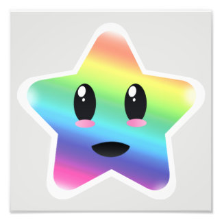 Super Kawaii Rainbow Star Photo Print