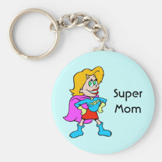 Super Mom Basic Round Button Key Ring