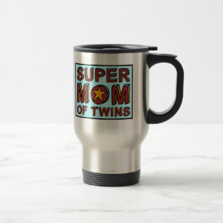 SUPER MOM OF TWINS 15 OZ STAINLESS STEEL TRAVEL MUG