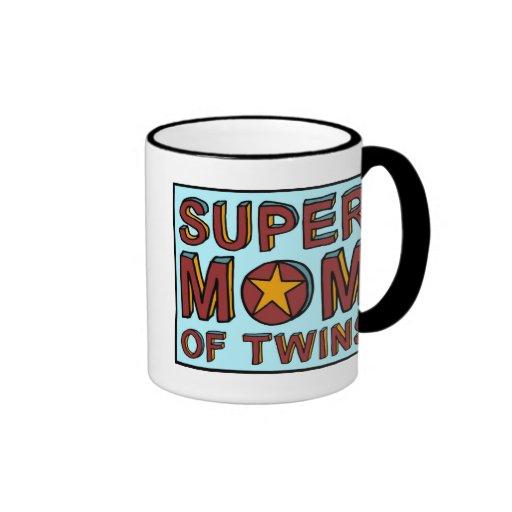 SUPER MOM OF TWINS COFFEE MUGS