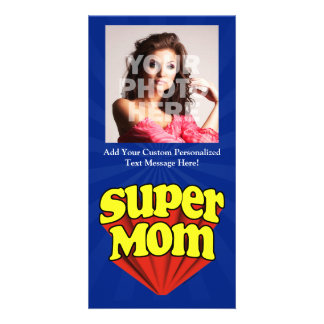 Super Mom Red/Yellow/Blue Superhero Mother's Day Photo Cards