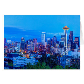 Super Moon rising near Seattle skyline Card