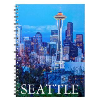 Super Moon rising near Seattle skyline Notebook
