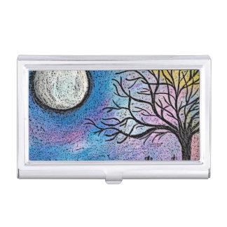 Super Moon & Tree Landscape Business Card Holder