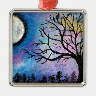 Super Moon & Tree Landscape Silver-Colored Square Decoration