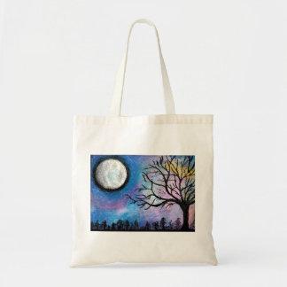 Super Moon & Tree Landscape Tote Bag