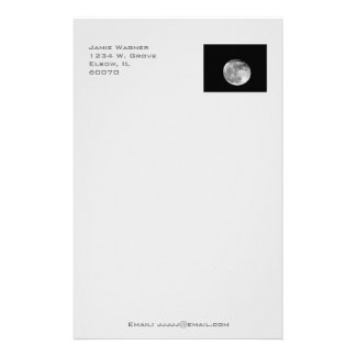 Super Moon with Airplane Passing/Customizable! Stationery Design
