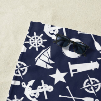 Super Nautical Blue Beach Towel