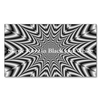 Super Nova in Black and White Magnetic Business Card