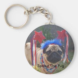 Super Patriotic Pug Basic Round Button Key Ring