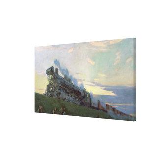 Super power steam engine, 1935 stretched canvas print