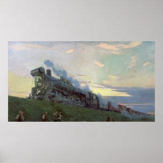 Super power steam engine, 1935 poster