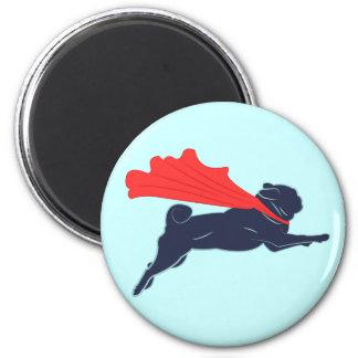 Super Pug 6 Cm Round Magnet