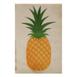 Super Rustic Pineapple Graphic Old Antique Paper Poster