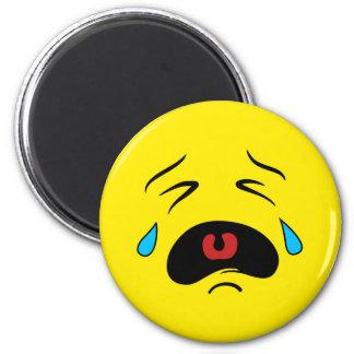 Super Sad Crying Face Emoji 6 Cm Round Magnet