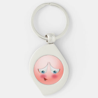 Super Shy and Blushing pink Emoji Silver-Colored Swirl Key Ring