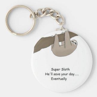 Super Sloth Hero Basic Round Button Key Ring