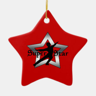 SUPER STAR BOY FIGURE SKATER,  SILVER & RED CHRISTMAS ORNAMENT
