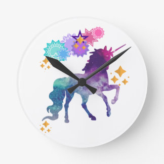 Super Star Galaxy Unicorn Round Clock
