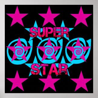 Super Star Hot Pink Teal Swirls Stars Pattern Print