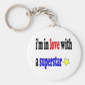 Super Star Love Basic Round Button Key Ring