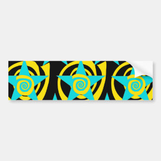 Super Star Teal Yellow Swirls Stars Pattern Bumper Sticker