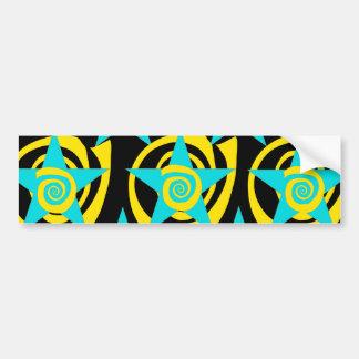 Super Star Teal Yellow Swirls Stars Pattern Bumper Sticker