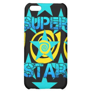 Super Star Teal Yellow Swirls Stars Pattern iPhone 5C Case