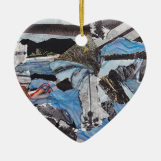 Super storm Sandy collage Ceramic Heart Decoration