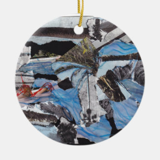 Super storm Sandy collage Round Ceramic Decoration
