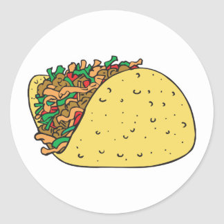 super stuffed taco round sticker