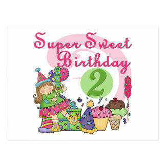 Super Sweet 2nd Birthday T-shirts and Gifts Postcard