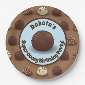 Super Sweet Chocolate Making Birthday Party Blue Paper Plate