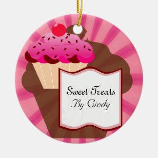 Super Sweet Cupcake Bakery Round Ceramic Decoration