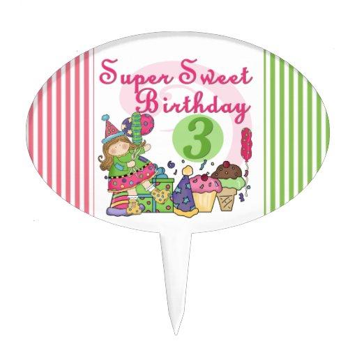 Super Sweet Third Birthday Cake Topper
